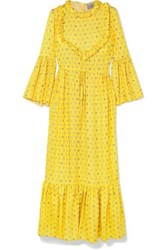 Preen By Thornton Bregazzi Tessa Ruffled Floral Jacquard Maxi Dress Yellow