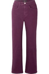 3X1 W4 Shelter Cropped High Rise Flared Jeans Burgundy