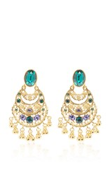 Oscar De La Renta Crystal Filigree C Earring Green