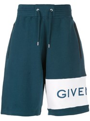 Givenchy Logo Embroidered Track Shorts Blue