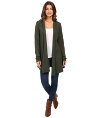 Allen Allen Hooded Open Cardigan Dark Olive Women's Sweater