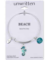 Unwritten Seas The Day Seahorse Charm Adjustable Bangle Bracelet In Stainless Steel Silver