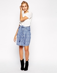 By Zoe By Zoe Abstract Print Tie Waist Skirt Blue