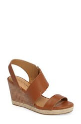 Lucky Brand Women's Lowden Wedge Sandal Cafe Leather