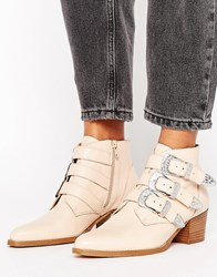 Asos Ryder Leather Buckle Ankle Boots Nude Beige