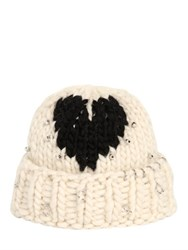 Maria Francesca Pepe Heart Wool Knit Beanie With Piercings