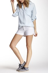 7 For All Mankind Frayed Whiskered Jean Short White