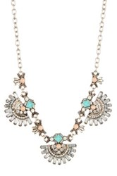 Spring Street Pink And Turquoise Crystal Station Statement Necklace Blue