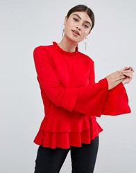 Ax Paris Pephem Top With Sleeve Detail Red
