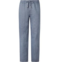 Mr P. Light Blue Wide Leg Linen And Cotton Blend Chambray Drawstring Trousers Blue