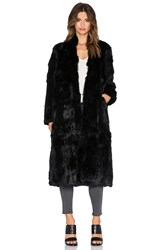 Adrienne Landau Rabbit Fur Duster Coat Black