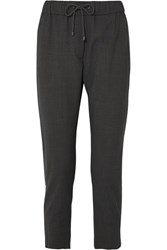Brunello Cucinelli Bead Embellished Wool Blend Track Pants Gray Gbp