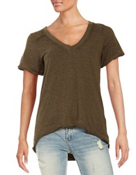Free People Pearl V Neck Tee Army Green