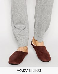 Asos Slip On Slippers In Brown With Faux Shearling Lining Brown