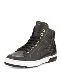 Salvatore Ferragamo Nicky Stitched Gancini High Top Sneaker