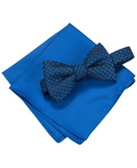 Alfani Men's Square Neat Bow Tie And Solid Pocket Square Set Only At Macy's Blue