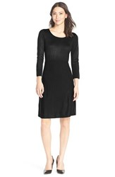 Women's Marc New York Ribbed Fit And Flare Sweater Dress Black