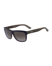 Salvatore Ferragamo Square Plastic Sunglasses Blue Gradient