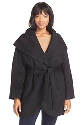 Plus Size Women's Tahari 'Marla' Cutaway Wrap Coat With Oversized Collar Black