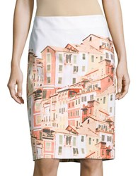 Lord And Taylor Porto Skyline Pencil Skirt Red