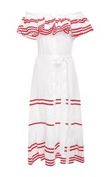 Lisa Marie Fernandez Mira Ruffled Off The Shoulder Belted Button Down Dress White