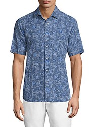 Saks Fifth Avenue Collection Paisley Print Chambray Shirt Blue