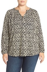 Plus Size Women's Lucky Brand Ikat Print Peasant Top