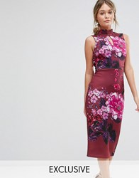 True Violet High Neck Pencil Dress With Mandarin Collar And Cap Sleeve Wine Multi