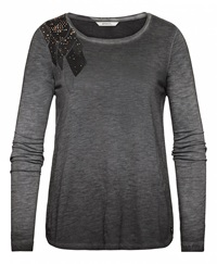 Sandwich T Shirt With Stud Shoulder Detail Charcoal