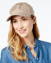 August Hats Metallic Ny Baseball Cap Taupe