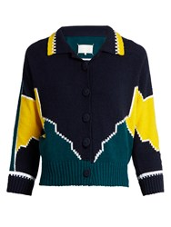 Maison Martin Margiela Long Sleeved Cotton Intarsia Knit Polo Shirt Navy Multi