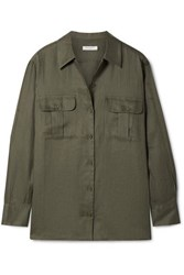 Equipment Videlle Linen Shirt Army Green