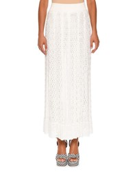 Missoni Elastic Waist Lace Knit Maxi Skirt White