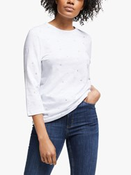 John Lewis Collection Weekend By Foil Flower Top White