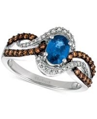Le Vian Chocolatier Blueberry Sapphire 3 4 Ct. T.W. And Diamond 1 2 Ct. T.W. Ring In 14K White Gold