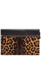 Victoria Beckham Small Zip Leather Clutch With Printed Calf Hair Multicolor