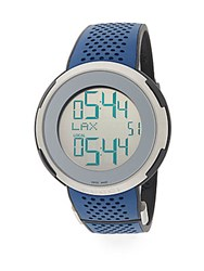 Gucci Digital Stainless Steel And Rubber Strap Watch Silver Blue