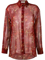 Balenciaga Floral Print Sheer Shirt Red