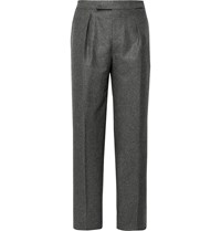 Camoshita Dark Grey Pleated Puppytooth Wool Suit Trousers Gray