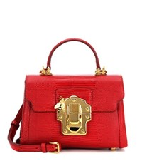 Dolce And Gabbana Lucia Mini Leather Crossbody Bag Red