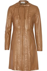 Valentino Leather Mini Dress Brown