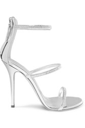 Giuseppe Zanotti Harmony Crystal Embellished Mirrored Leather Sandals Silver