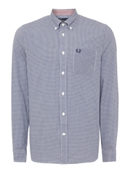 Fred Perry Gingham Classic Fit Long Sleeve Shirt Dark Blue
