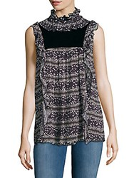 See By Chloe Ruffled Floral Print Sleeveless Top Black