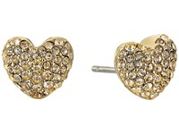 Michael Kors Pave Hearts Tone And Light Colorado Crystal Heart Stud Earrings Gold Earring