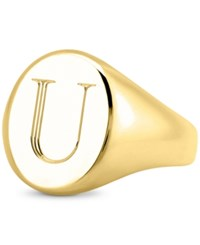 Sarah Chloe Initial Signet Ring In 14K Gold Plated Sterling Silver U