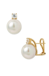 Majorica 12Mm Round Pearl Stud Earrings With Cubic Zirconia White