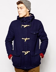 Native Youth Wool Toggle Duffle Jacket Navy