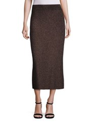 A.L.C. Cook Metallic Rib Knit Midi Skirt Black Apricot