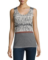 Neiman Marcus Cashmere Collection Animal Stripe Print Cashmere Tank